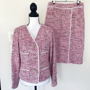 New CARLISLE Collection Pink Tweed Skirt Suit 8 6
